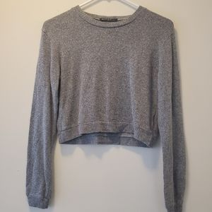 Brandy Melville Gray Long Sleeve Cropped Sweater
